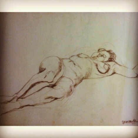 30x20 reclining nude, conte crayon on newsprint