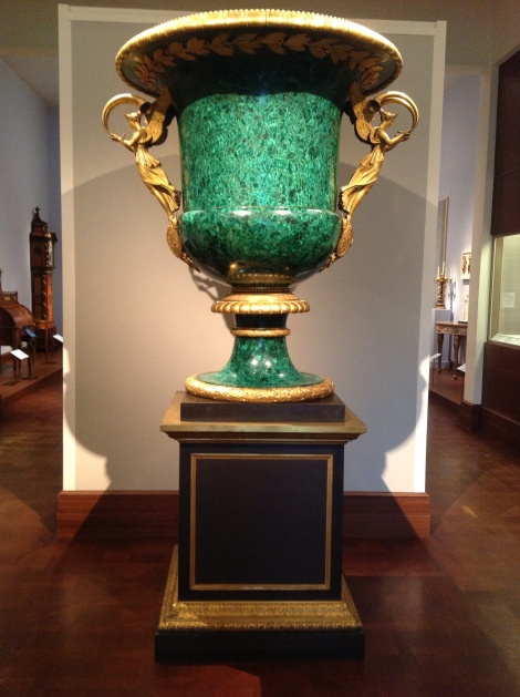 early 19th century (lapidary work); 1819 (pedestal and mounts), Russian malachite, composite filling material; gilt-bronze mounts; bronze pedestal. Overall: H. with pedestal 109 1/4 in., Wt. 1575lb. (277.5 cm, 714.4153kg); Vase: H. without pedestal 63 3/4 x Circum. at top 54 x Circum. at bottom 30 (161.9 x 137.2 x 76.2 cm); Pedestal: H. 45 1/2 x W. 37 1/2 x D. 37 1/2 in. (115.6 x 95.3 x 95.3 cm)