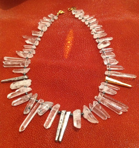 Crystal Quartz/18k plated brass quartz/silver ox plated brass quartz/hematite beads